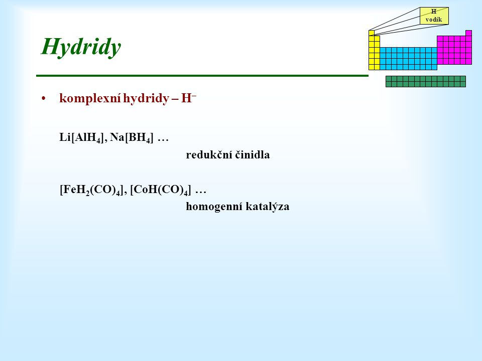 Hydridy komplexní hydridy – H– Li[AlH4], Na[BH4] … redukční činidla